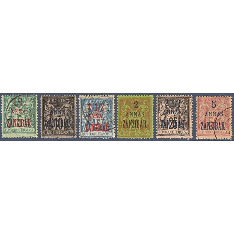 ZANZIBAR N°_17-20-22 A 24-28 TIMBRES COLONIES FRANCAISES, 1896-1900