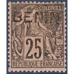 BENIN N°_8 TYPE ALPHÉE DUBOIS SURCHARGÉ, TIMBRE NEUF* 1892