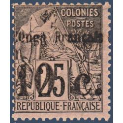 CONGO N°5 TIMBRE DES COLONIES FRANCAISES SURCHARGÉ, NEUF SANS GOMME 1891-92