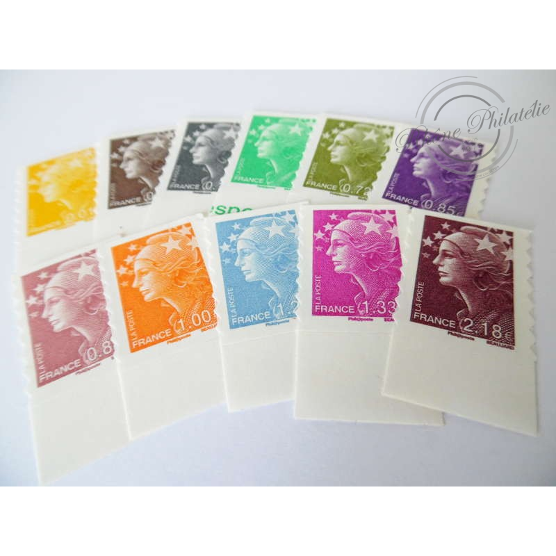 TIMBRES POSTE AUTOADHESIFS 208-218 TYPE MARIANNE BEAUJARD COULEUR 2008