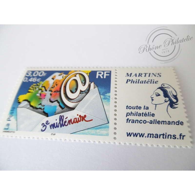 """TIMBRE PERSONNALISE N°3365Ab """"3E MILLÉNAIRE"""", VIGNETTE MARTINS PHILATÉLIE"""