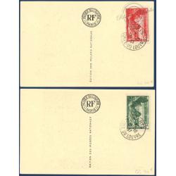 N°__354-355 VICTOIRE DE SAMOTHRACE SUR CARTES POSTALES MUSEE DU LOUVRE 1937