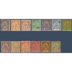 CONGO N°12 A 24 TIMBRES DES COLONIES FRANCAISES TYPE SAGE, NEUFS*/OBLITÉRÉS 1892