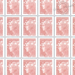 FEUILLE TIMBRES POSTE N°4569 MARIANNE DE BEAUJARD (2011) LILAS BRUN LETTRE 50G