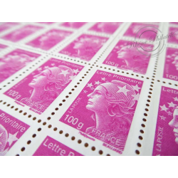 FEUILLES TIMBRES POSTE N°4570 MARIANNE DE BEAUJARD (2011) ROSE LILAS LETTRE 100G