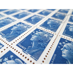 FEUILLE TIMBRES POSTE N°4231 MARIANNE DE BEAUJARD (2008) BLEU LETTRE 20G EUROPE