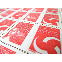 FEUILLE TIMBRES POSTE N°3689 MARIANNE ROUGE DU 14 JUILLET (2004) LUTTE CONTRE SIDA