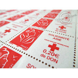 FEUILLE TIMBRES POSTE N°3745 MARIANNE ROUGE DE LAMOUCHE  SOLIDARITE ASIE (2005)