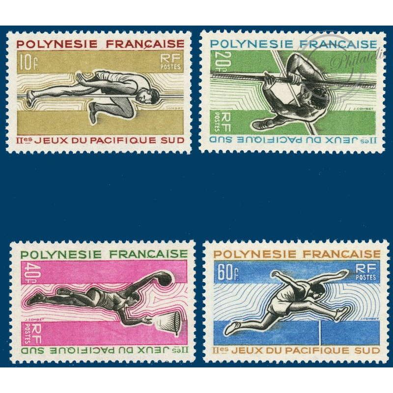 POLYNESIE N°_42-45 SERIE  JEUX PACIFIQUE-SUD, TIMBRES POSTE DE 1966 LUXE
