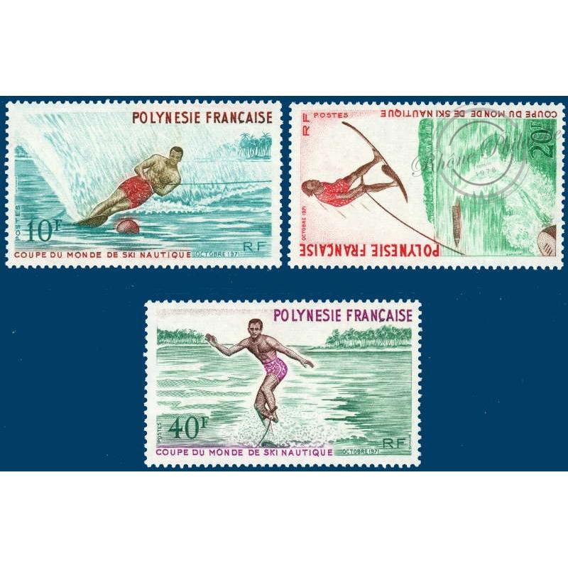 POLYNESIE N°_86 A 88 COUPE MONDE SKI NAUTIQUE, TIMBRES POSTE DE 1971 LUXE