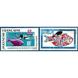 POLYNESIE POSTE AERIENNE N°_29-30 CHAMPIONNATS CHASSE SOUS MARINE NEUFS* (1969)