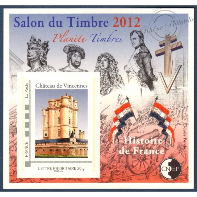 """BLOC CNEP N°_61 """"SALON DU TIMBRE 2012. HISTOIRE DE FRANCE"""" LUXE, AUTOADHESIF"""