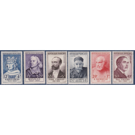 TIMBRES POSTE N°989-994 NEUFS* 1954  SERIE SURTAXES