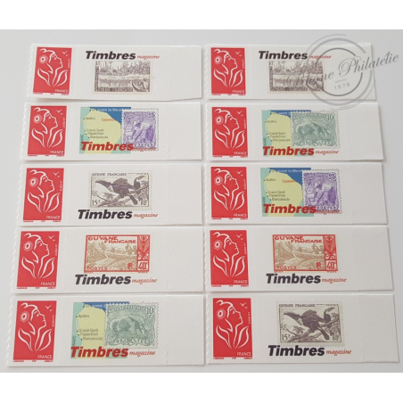 TIMBRE PERSONNALISE N°3802A, 10 TIMBRES MARIANNE LAMOUCHE TIMBRES MAGASINE GUYANE