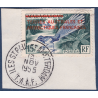 TAAF N°1 TIMBRE DE MADAGASCAR DE 1954 SURCHARGE EN ROUGE, NEUF** (1955) OBLITERE SUR FRAGMENT
