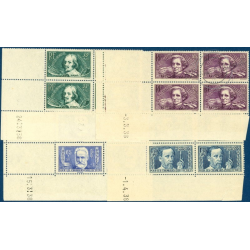 N°__381 A 383 ET 385 COINS DATÉS CHOMEURS INTELLECTUELS, TIMBRES NEUF **, 1938