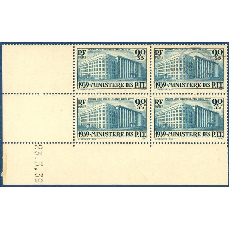 N°__424 COIN DATE DE 1939 ORPHELINS DES P.T.T  TIMBRES NEUFS **