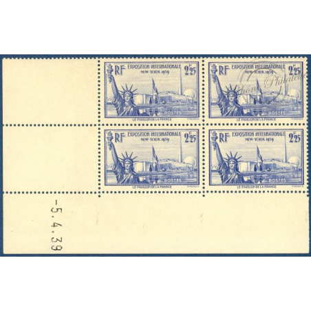 N°__426 EXPOSITION NEW YORK COIN DATE 1939 TIMBRES NEUFS **