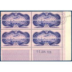 PA N°_15 AVION SURVOLANT PARIS BLOC 4 TIMBRES NEUFS ** 1936