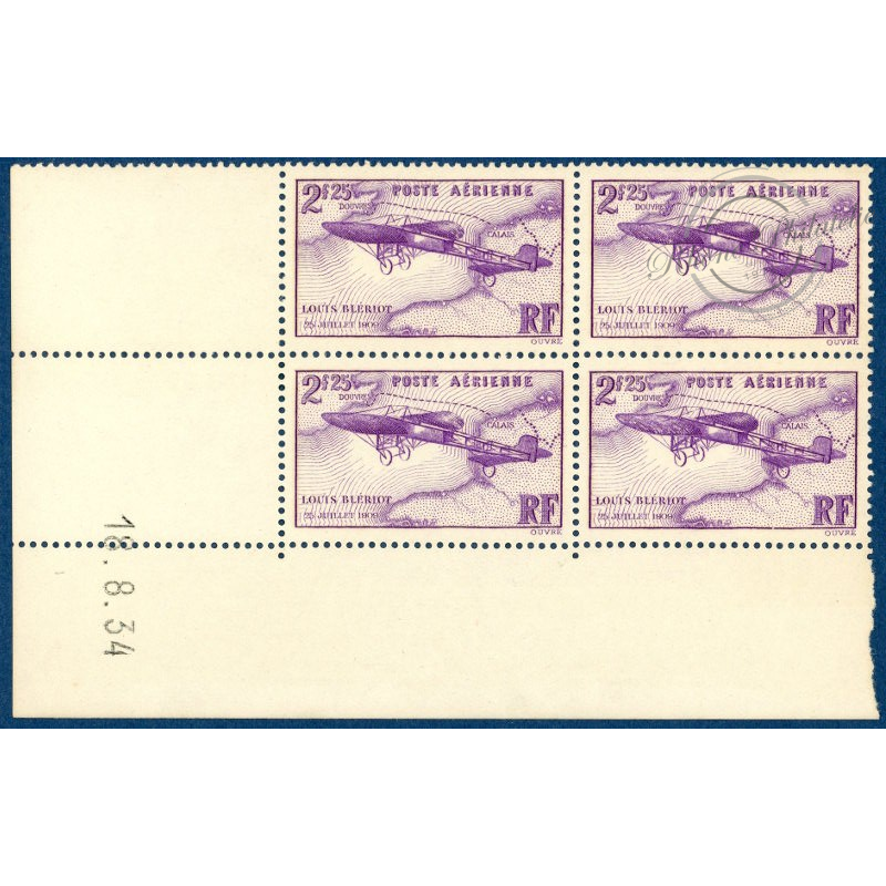 PA N°7 COIN DATE TRAVERSEE DE LA MANCHE, TIMBRES NEUFS** 1934