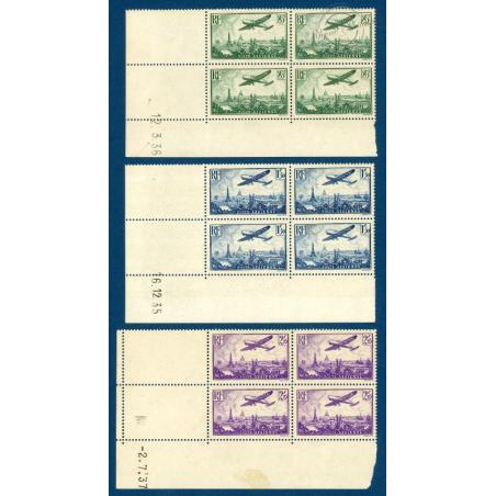PA N°8 A 13 COIN DATE AVION SURVOLANT PARIS TIMBRES NEUFS** 1936