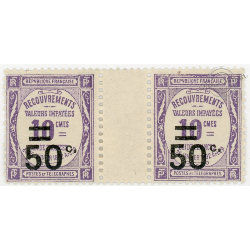 N°__51 LOT DE 5 PAIRES + 1 UNITÉ MILLESIMES TIMBRE-TAXE, TIMBRE NEUF**, 1926