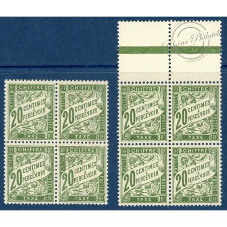 2 BLOC DE 4 TIMBRES N°_31 TIMBRES TAXE 20c OLIVE, OLIVE FONCÉ NEUF **, 1926