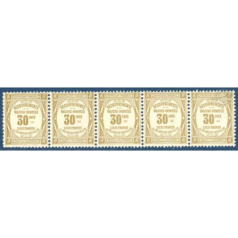 BANDES DE 5 TIMBRES TAXE N°_46 RECOUVREMENTS 30C BISTRE, TIMBRE NEUF **