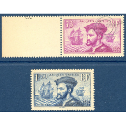 N°296-297 JACQUES CARTIER TIMBRES NEUFS ** 1934