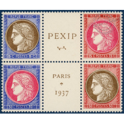 N°348 A 351 (BLOC CENTRAL) PEXIP, TIMBRES NEUFS** 1937