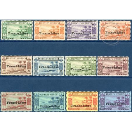 NOUVELLES-HÉBRIDES N°124 A 135 TIMBRES POSTE DE 1938 SURCHARGÉS, NEUFS* 1941