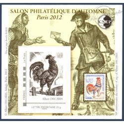 """BLOC CNEP N°_62 """"SALON PHILATELIQUE PARIS 2012. COQ DECARIS"""" LUXE, AUTOADHESIF"""