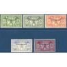 NOUVELLES-HÉBRIDES N°6 A 10 TIMBRE-TAXE DE 1925, NEUFS*