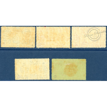 NOUVELLES-HÉBRIDES N°16 A 20 TIMBRE-TAXE DE 1938, NEUFS*