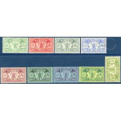 NOUVELLES-HÉBRIDES N°49 A 57 TIMBRES POSTE DE 1911, NEUFS*