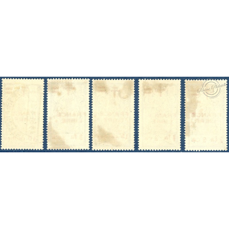 INDE N°186-190 TIMBRES POSTE TYPE FRANCE LIBRE AVEC CHARNIERE, 1942