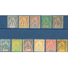 GUINEE N°1 A 12 TIMBRES AVEC CHARNIERE (IMCOMPLET), 1892