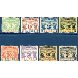 GUINEE N°8 A 15 TIMBRES TAXE NEUFS*, 1906-08