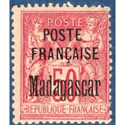 MADAGASCAR N°19 TIMBRE TYPE SAGE DE 1876-92 SURCHARGÉ, NEUFS* 1895