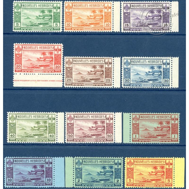 NOUVELLES-HÉBRIDES N°100 A 111 TIMBRES POSTE DE 1938, NEUFS**