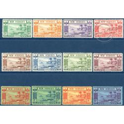 NOUVELLES-HÉBRIDES N°112 A 123 TIMBRES POSTE DE 1938, LÉGENDE NEW HEBRIDES, NEUFS**