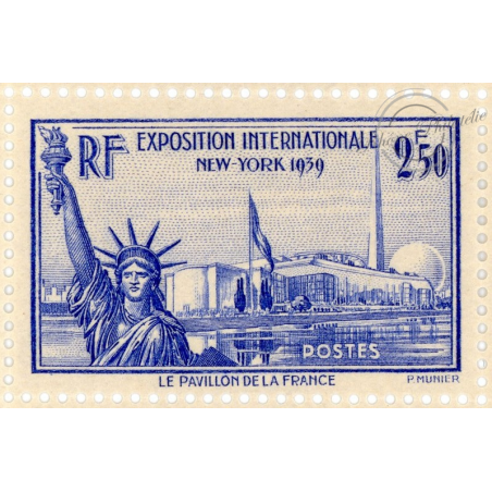 N°458 FEUILLE 50 TIMBRES, EXPOSITION INTERNATIONALE NEW YORK TIMBRES NEUF**, 1940