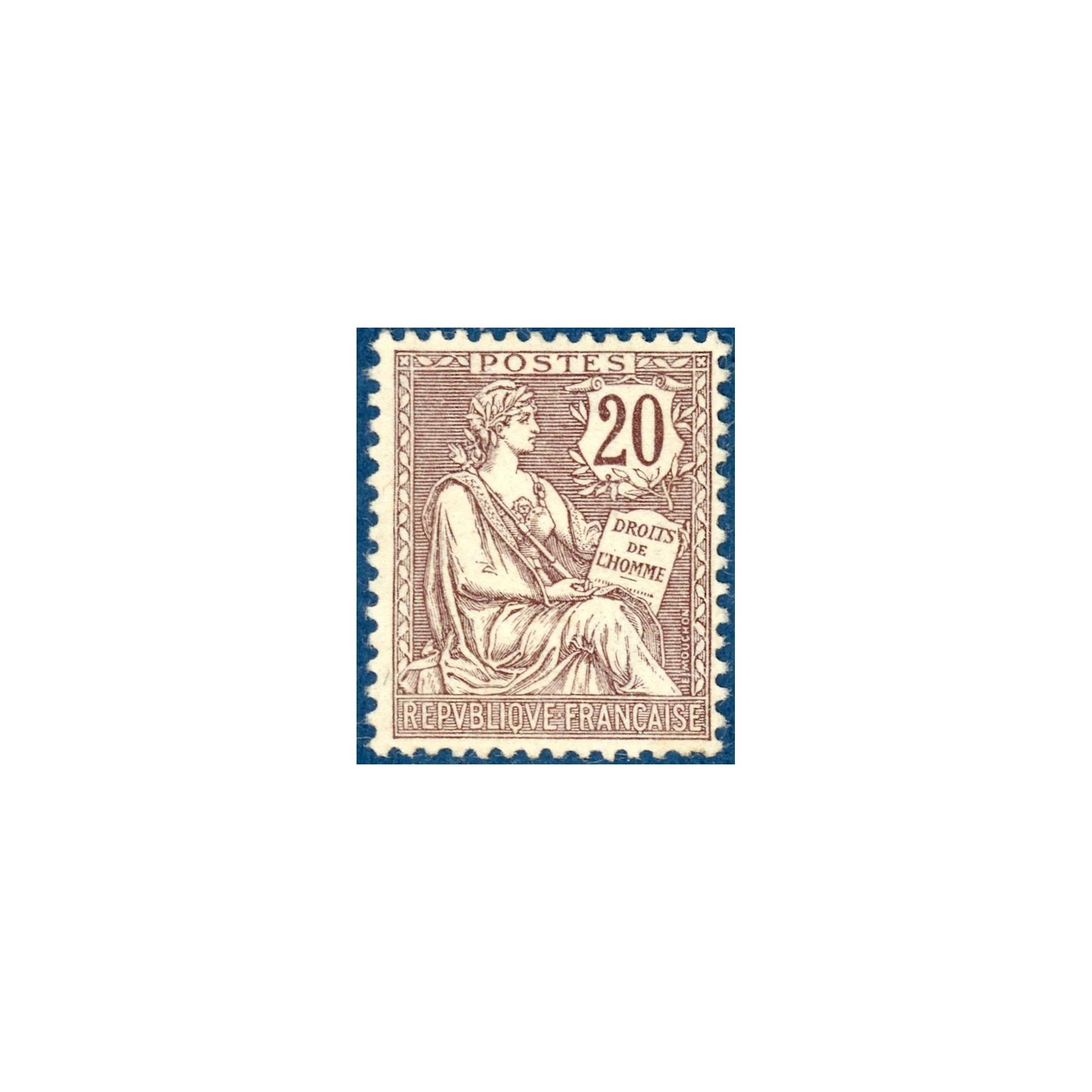 N°126 TYPE MOUCHON RETOUCHE 20C BRUN-LILAS, TIMBRE NEUF ** 1902
