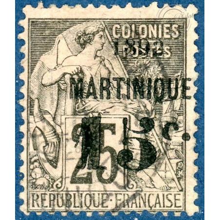 MARTINIQUE N°17 TYPE ALPHEE DUBOIS, VARIÉTÉ LETTRE C CASSÉ, TIMBRE NEUF SANS GOMME 1888-1891
