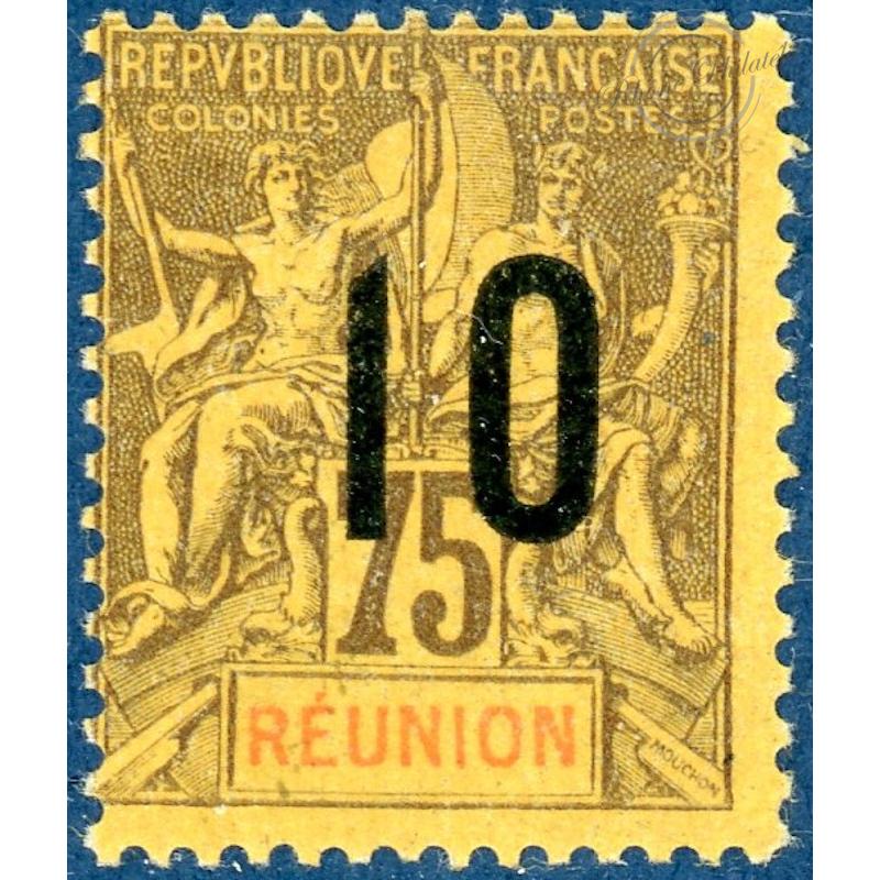REUNION N°79A TIMBRE COLONIES FRANCAISES SURCHARGÉ,CHIFFRES ESPACÉS, NEUF*,  1912
