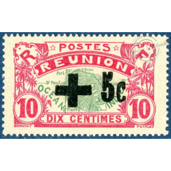 REUNION N°80, CROIX-ROUGE, TIMBRE-POSTE NEUF*, 1915