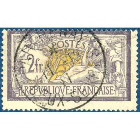 N°122 TYPE MERSON VIOLET ET JAUNE, TIMBRE OBLITÉRÉ, 1900
