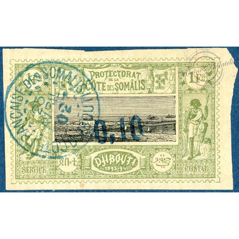 COTE DES SOMALIS N°24 OBLITÉRÉ, TIMBRE DE 1894 SURCHARGÉ