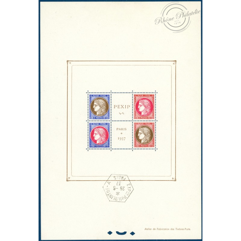BLOC N°3 PEXIP PARIS 1937, TIMBRES NEUFS*, CACHET EXPOSITION HORS TIMBRES