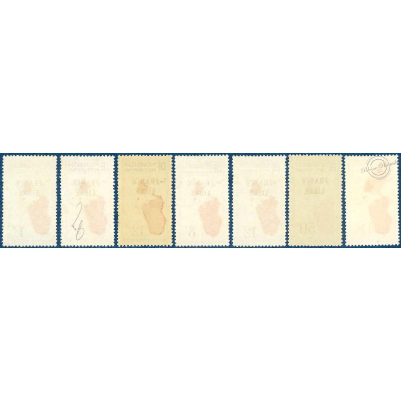 MADAGASCAR POSTE AÉRIENNE N°45 A N°49 et N°51 ET 52, TIMBRES OBLITÉRÉS ET NEUFS,1942